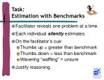 task estimation with benchmarks