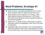 word problems envelope 1