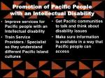 promotion of pacific people with an intellectual disability