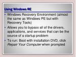 using windows re