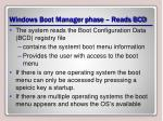 windows boot manager phase reads bcd