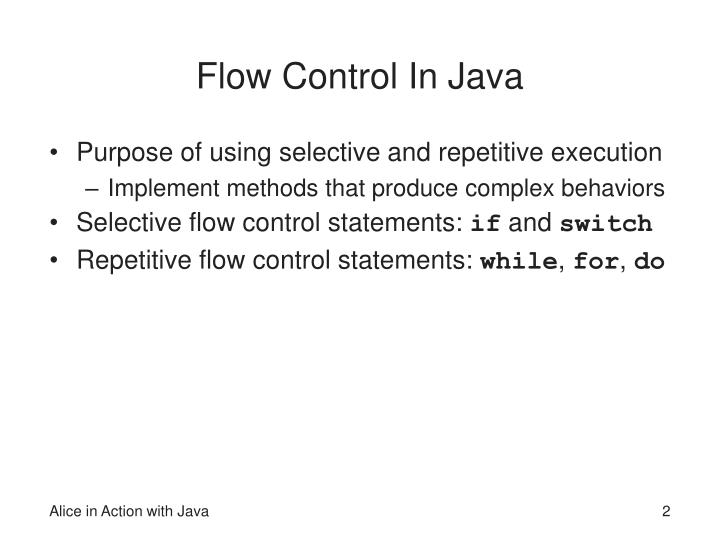 Flow Control In Java