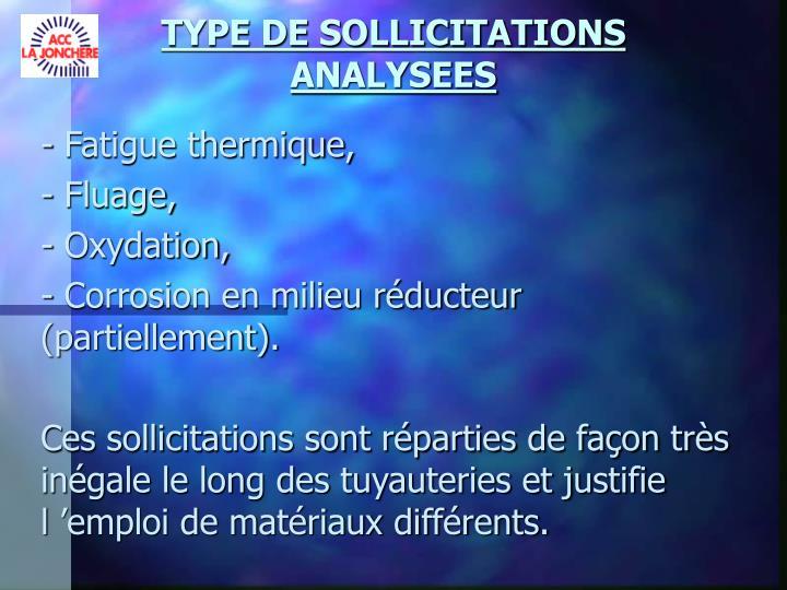 TYPE DE SOLLICITATIONS ANALYSEES