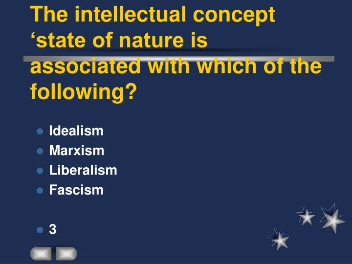 The intellectual concept 'state of nature is associated with which of the following?