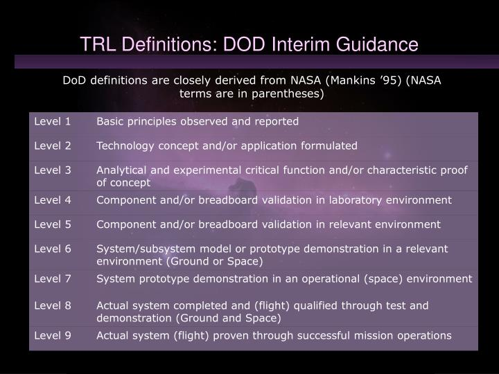 Trl definitions dod interim guidance