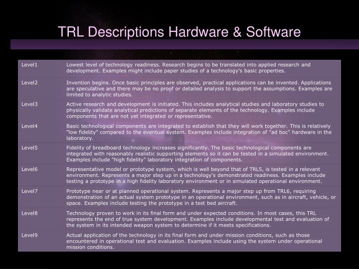 Trl descriptions hardware software