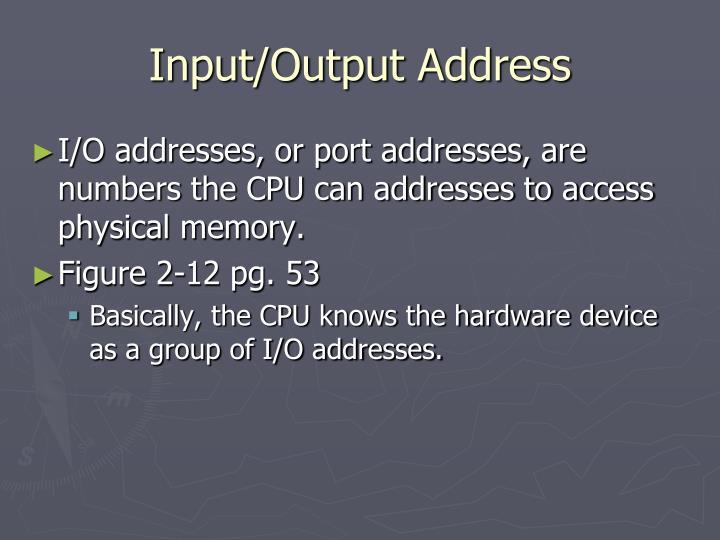 Input/Output Address