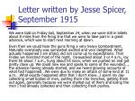 letter written by jesse spicer september 1915