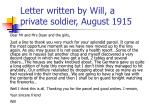letter written by will a private soldier august 1915