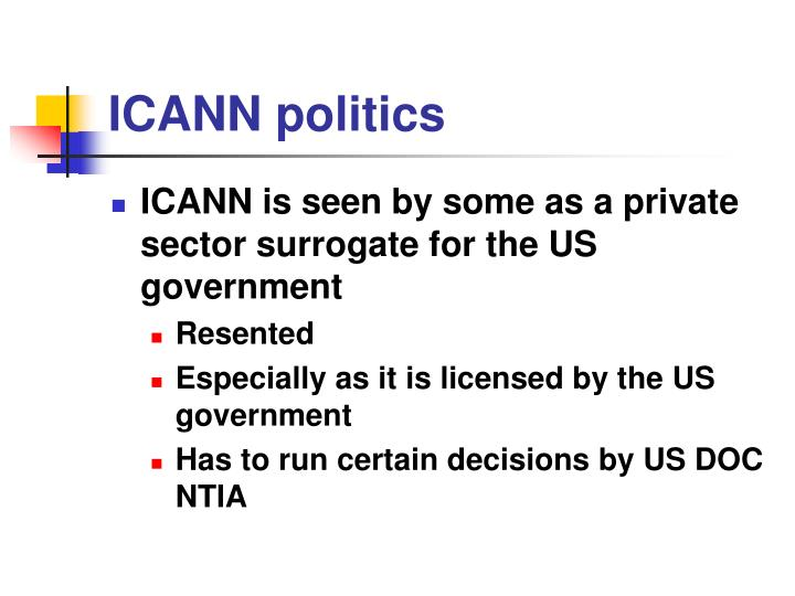 ICANN politics