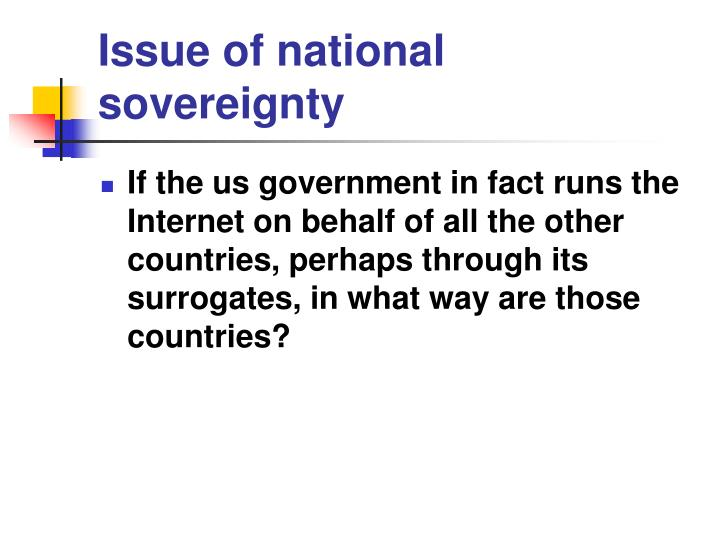 Issue of national sovereignty