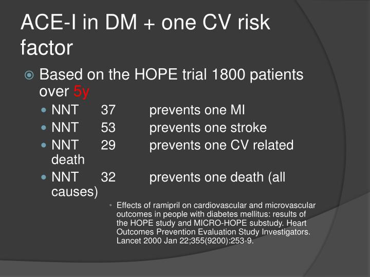 ACE-I in DM + one CV risk factor