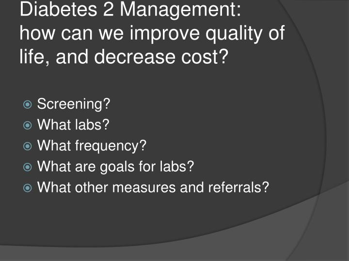Diabetes 2 Management: