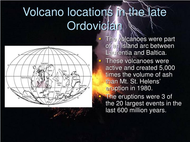 Volcano locations in the late Ordovician