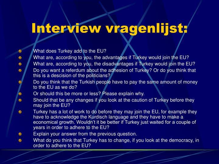 Interview vragenlijst:
