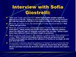 interview with sofia giostrelli