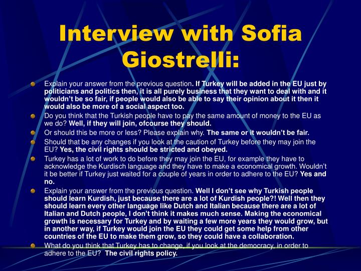 Interview with Sofia Giostrelli: