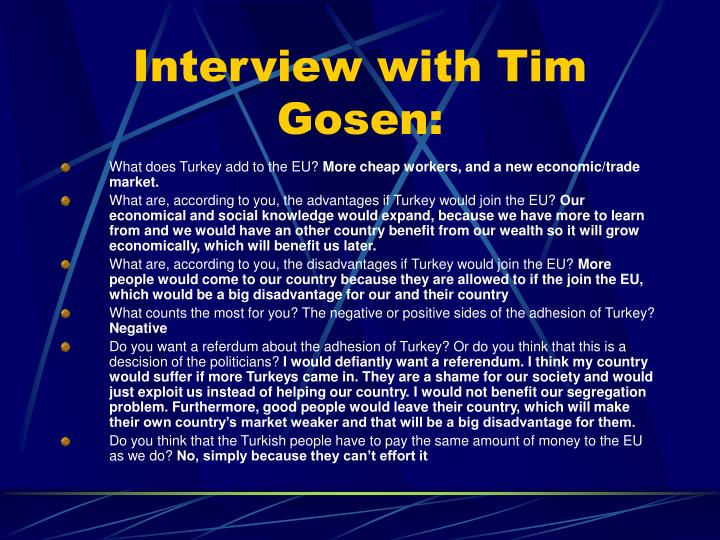 Interview with Tim Gosen: