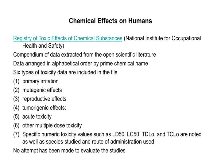 Chemical Effects on Humans