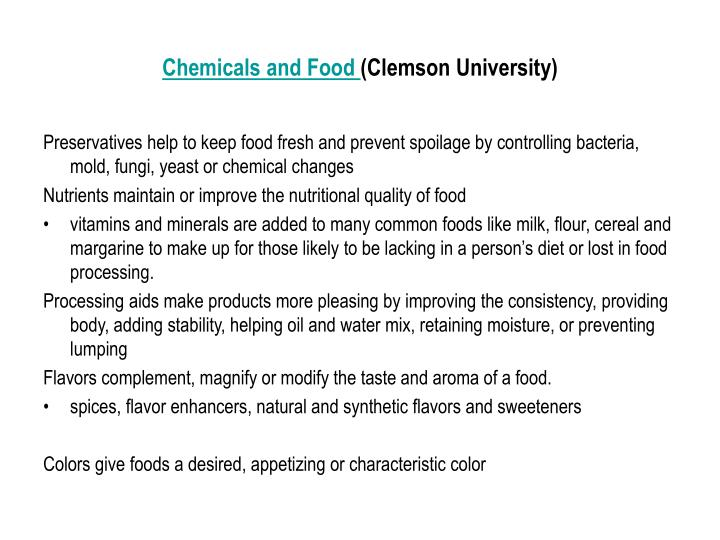 Chemicals and Food