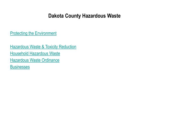Dakota County Hazardous Waste
