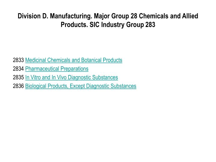Division D. Manufacturing. Major Group 28 Chemicals and Allied Products. SIC Industry Group 283