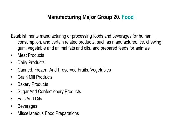 Manufacturing Major Group 20.