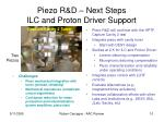 piezo r d next steps ilc and proton driver support
