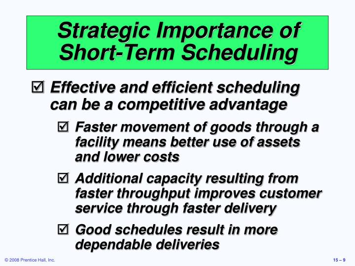 Strategic Importance of Short-Term Scheduling