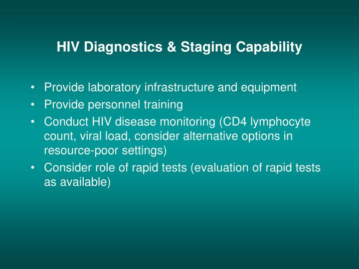 HIV Diagnostics & Staging Capability