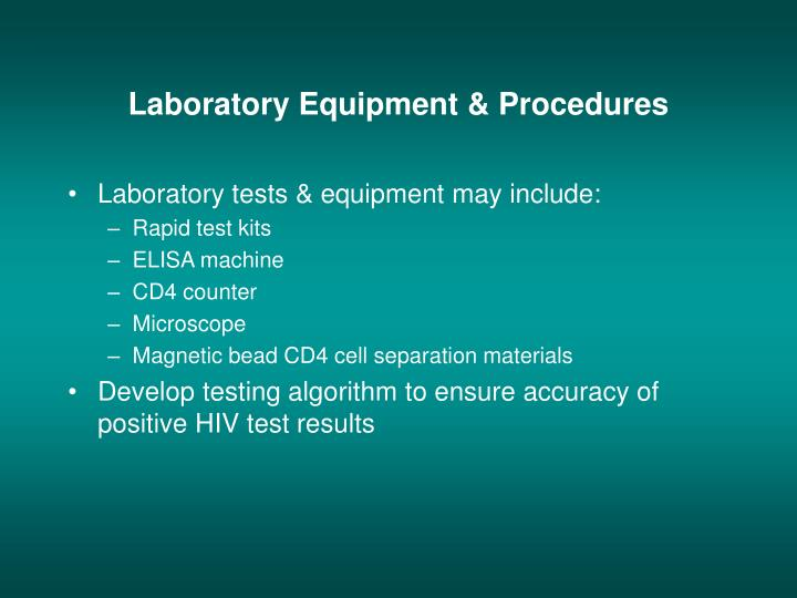 Laboratory Equipment & Procedures