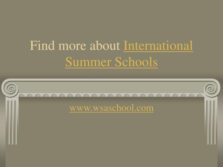 Find more about international summer schools