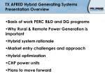 tx afred hybrid generating systems presentation overview