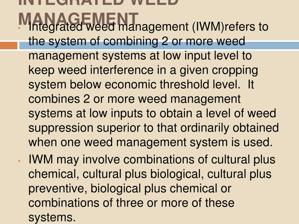 INTEGRATED WEED MANAGEMENT