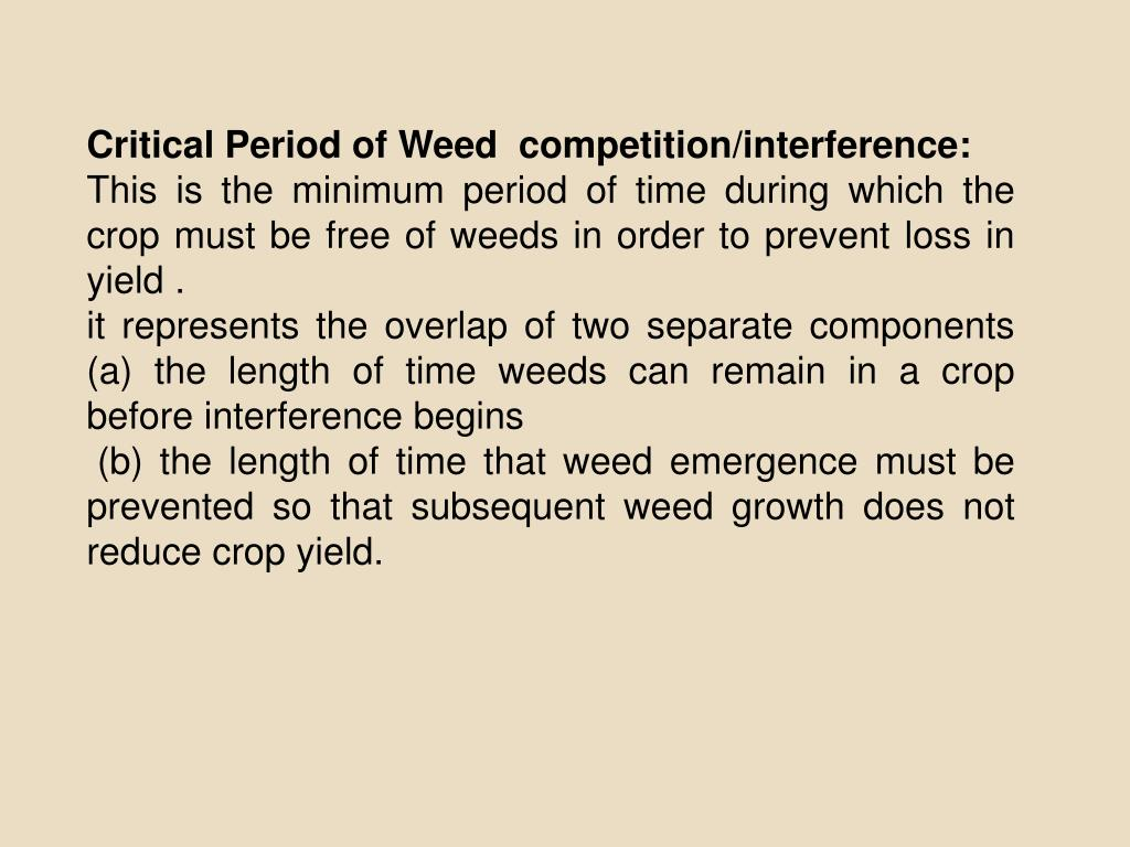 Critical Period of Weed  competition/interference: