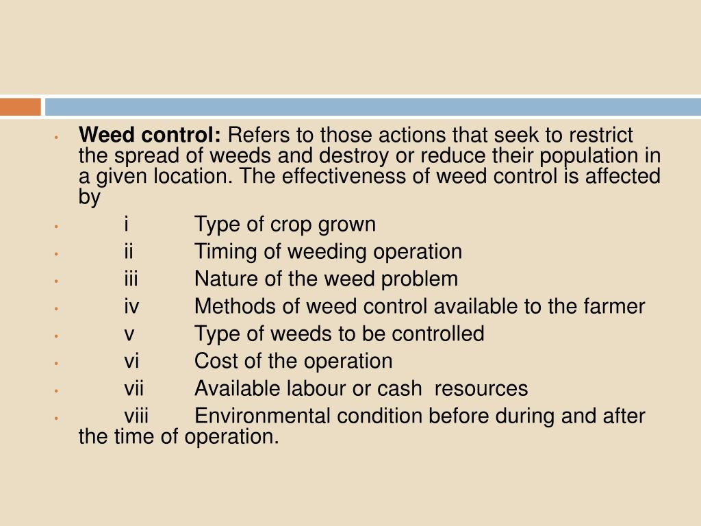Weed control: