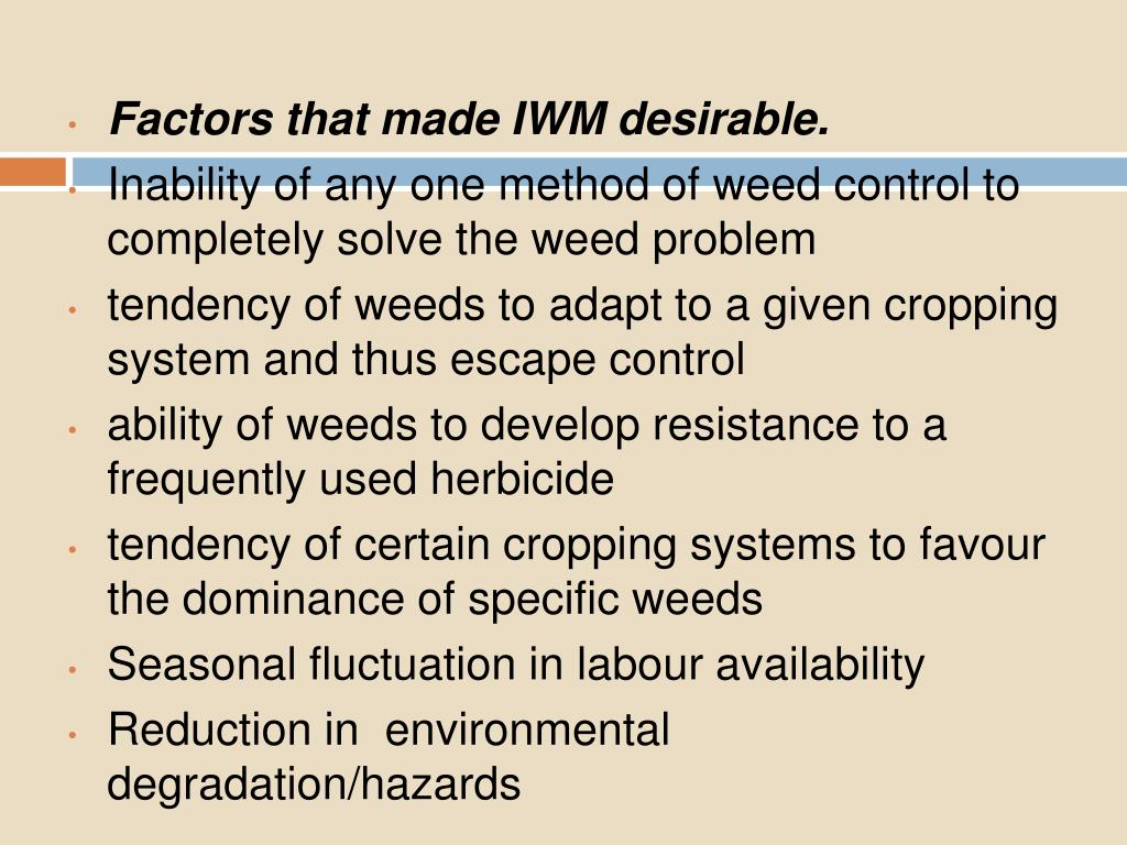 Factors that made IWM desirable.