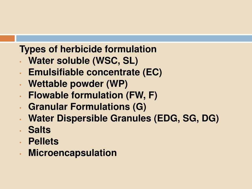 Types of herbicide formulation