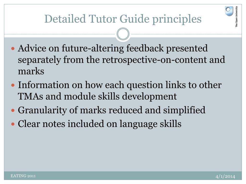 Detailed Tutor Guide principles