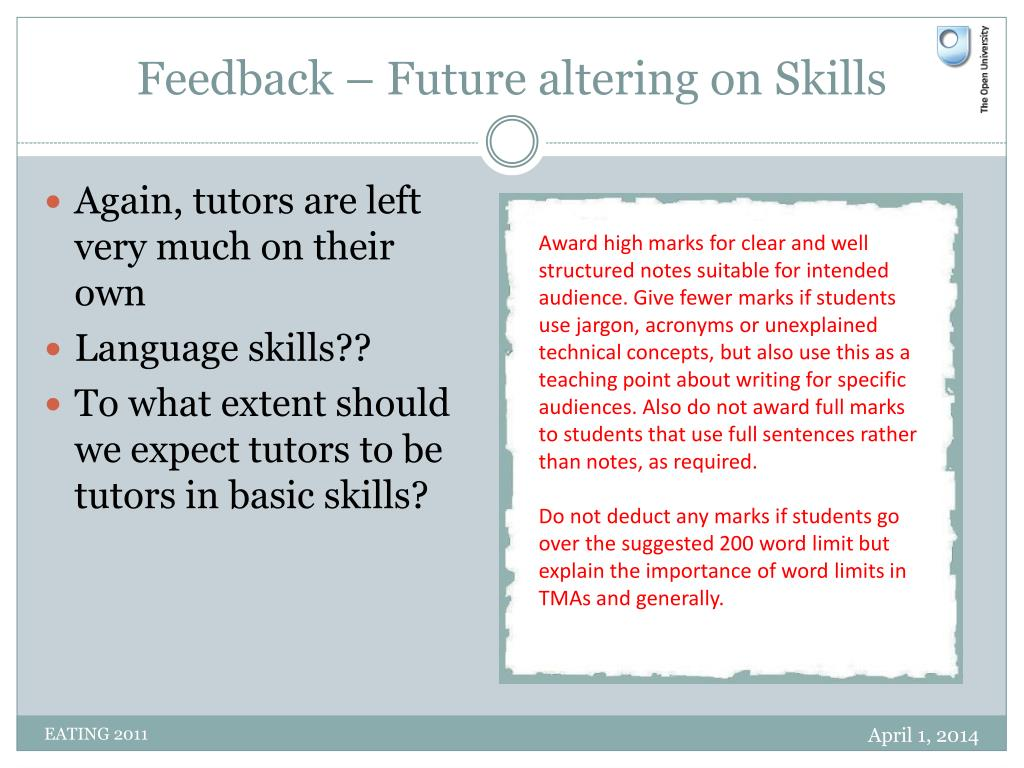 Feedback – Future altering on Skills