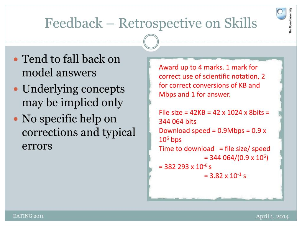Feedback – Retrospective on Skills