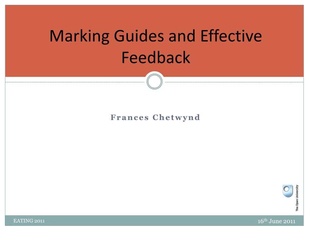 Marking Guides and Effective Feedback