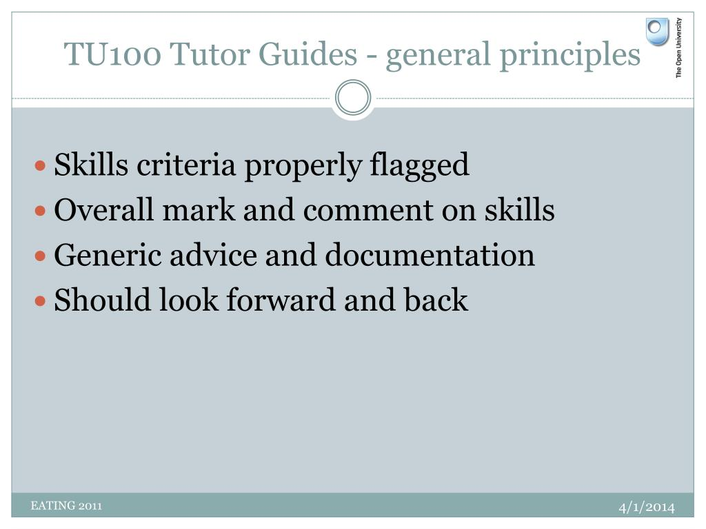 TU100 Tutor Guides - general principles