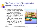 the basic modes of transportation domestic water carriers