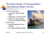 the basic modes of transportation international water carriers