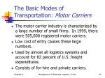 the basic modes of transportation motor carriers