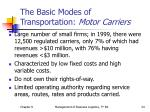 the basic modes of transportation motor carriers1