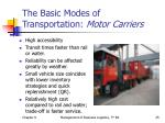 the basic modes of transportation motor carriers2