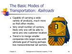 the basic modes of transportation railroads