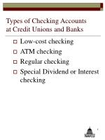 types of checking accounts at credit unions and banks